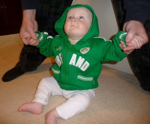 Our baby dressed for the North Texas Irish Festival