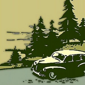 Vintage Royalty Free Family Road-Trip Graphic