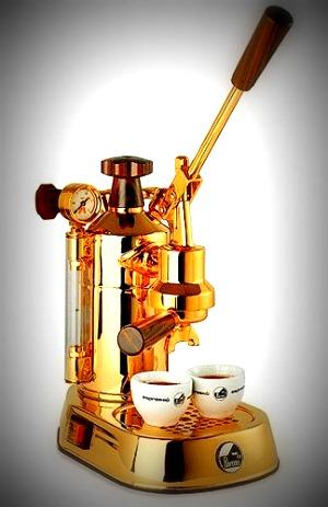 La Pavoni PPG-16 Professional Gold-Plated 16-Cup Espresso Machine, Brass