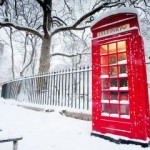 British Red Telephone Booth in the Snow - Greater London, UK