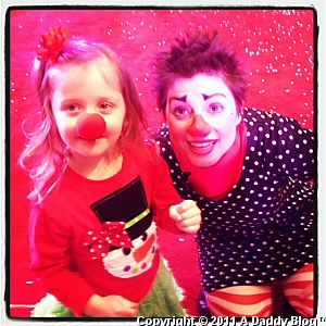 My daughter at Galleria Dallas for Slappy's Holiday Circus 2011