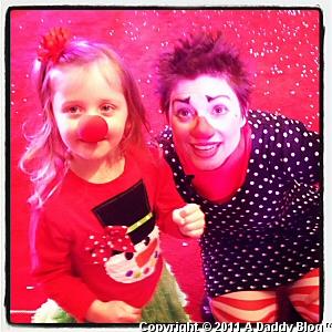 My daughter at Galleria Dallas at Slappy's Holiday Circus 2011