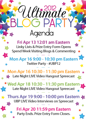 Ultimate Blog Party 2012 Agenda - via adaddyblog.com