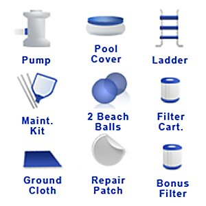 "Accesories that come in the 12' x 36"" Float to Fill™ Round Ring Pool Set by Backyard Ocean"