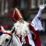 Sinterklaas in The Netherlands riding his white horse