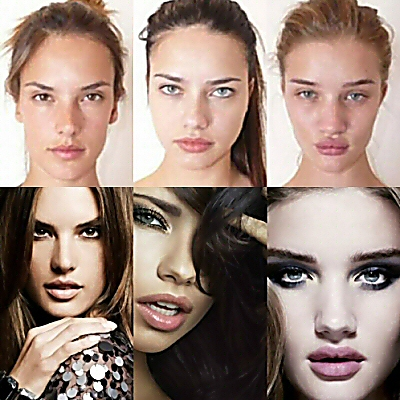 Victoria's Secret models before and after makeup and retouching