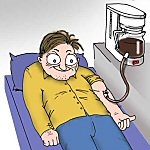 Cartoon: Man with a coffee addiction has a coffee IV in his arm attached to coffee pot