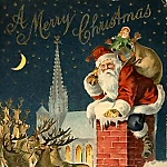 Vintage Santa with his Pack Climbing Down Chimney