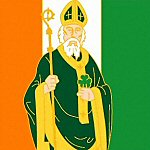 Saint Patrick Icon with Irish Flag and Shamrock