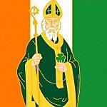 Saint Patrick Icon with Irish Flag and Shamrock