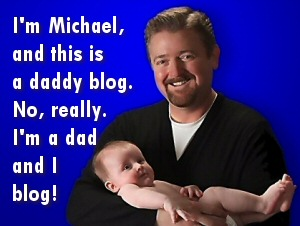 Photo of Michael Schmid and his baby daughter, welcoming you to his blog