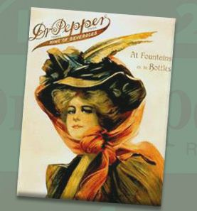 Dr Pepper Vintage Ad with Victorian Woman in Hat
