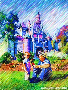 Walt Disney Reading to Grandson Christopher Disney Miller at Sleeping Beauty's Castle