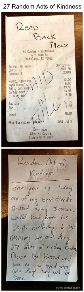 27 Random Acts of Kindness - Our bill was paid in full to remember dead friend