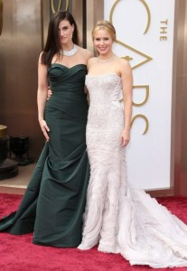 Idina Menzel and Kristen Bell arrive at the 86th Annual Academy Awards