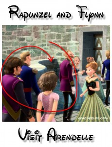 Rapunzel and Flynn with Princess Anna in Arendelle in Disney's movie Frozen