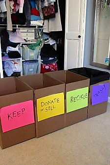 Boxes for clearing closet clutter
