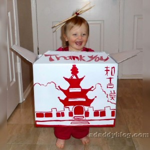 Our daughter's Cute Chinese Takeout Halloween Costume